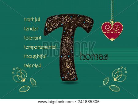 Name Day Card For Thomas. Artistic Brown Letter T With Golden Floral Decor. Vintage Heart With Chain