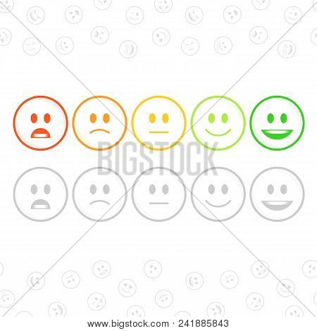 Feedback Emoticon Set In Flat Style. User Experience, Customer Feedback Or Review Concept. Rank Or L