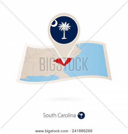 Folded Paper Map Of South Carolina U.s. State With Flag Pin Of South Carolina. Vector Illustration