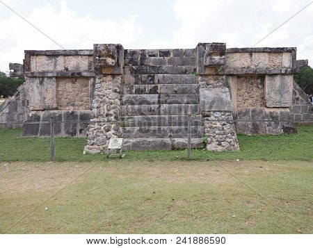 Vew Of Ancient Platform Of Eagles And Jaguars Building At Chichen Itza City In Mexico, Most Impressi