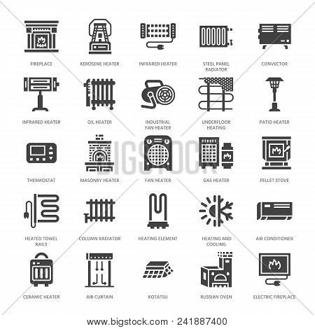 Oil Heater, Fireplace, Convector, Panel Column Radiator And Other House Heating Appliances Glyph Ico