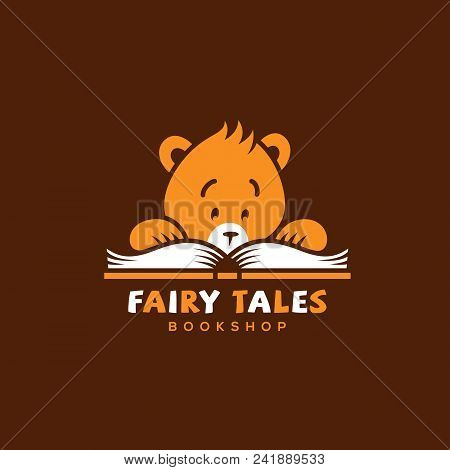 Funny Logo Template Design For Bookshops With A Reading Bear And A Book. Vector Illustration.