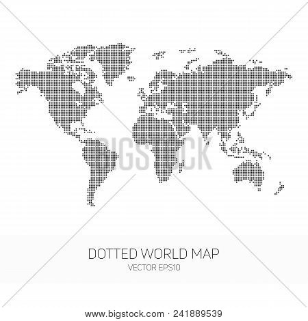 Dotted World Map. Vector Template Of World Map For Website, Cover, Design Or Infographics. Global Ma