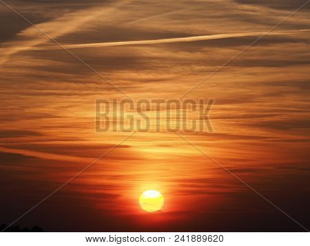 Spectacular Magic Colored Sky At Sun Set With Clouds Formation Seen From European City Of Bielsko-bi