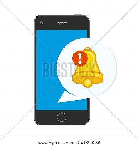 Notifications Icon On Screen Of Smart Phone. Mobile Phone And Push Notifications Sign. Smartphone Wi