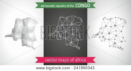 Democratic Republic Of The Congo Set Of Grey And Silver Mosaic 3d Polygonal Maps. Graphic Vector Tri