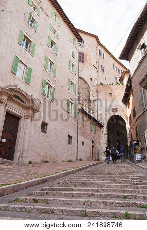 Uphill Steps Path To The Cornea Door In Perugia City