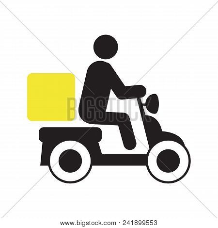 Person Driving Delivery Scooter Silhouette Icon. Pizza Delivery. Motorbike With Box. Isolated Vector