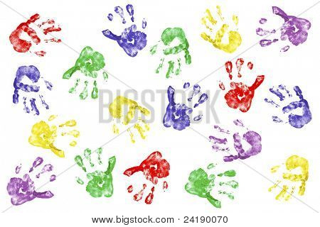 Kids handprints with fingerpaint isolated on white
