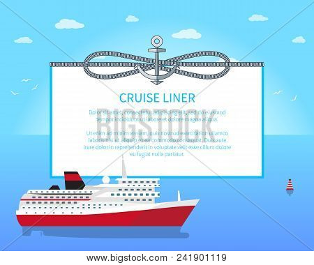 Cruise Liner Colorful Poster Vector Illustration, Blue Add Text Sample, Big Cruise Sea Ship With Red