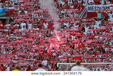 Marseille, France - June 21, 2016: Polish Fans Show Their Support During The Uefa Euro 2016 Game Ukr