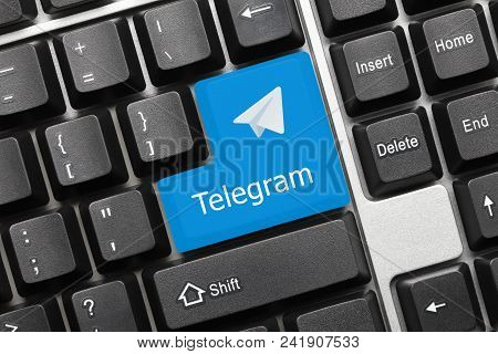 Close-up View On Conceptual Keyboard - Telegram (blue Key With Logotype)