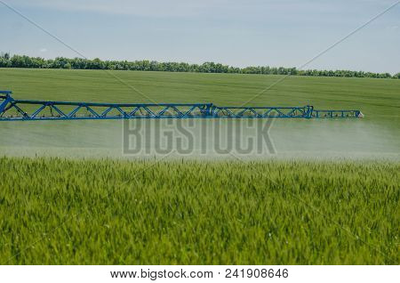 Agricultural Sprayers, Spray Chemicals On Young Wheat. Spraying Pesticides On Wheat Field With Spray