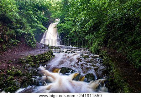 Glenoe Waterfall, Near The Hamlet Of Glenoe.