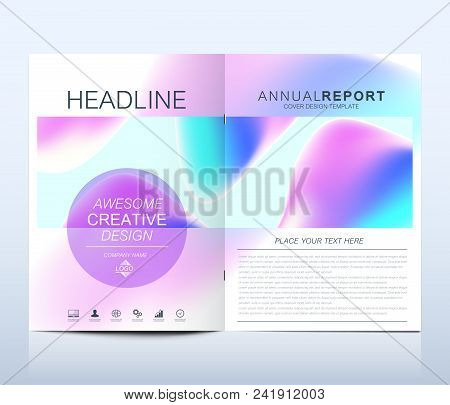 Modern vector template for brochure, leaflet, flyer, cover, catalog in A4 size. Abstract fluid 3d shapes vector trendy liquid colors backgrounds set. Colored fluid graphic composition illustration poster