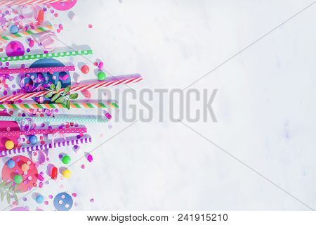 Holiday Frame Or Background With Colorful Straws, Confetti And Hard Candy. Birthday Or Party Greetin