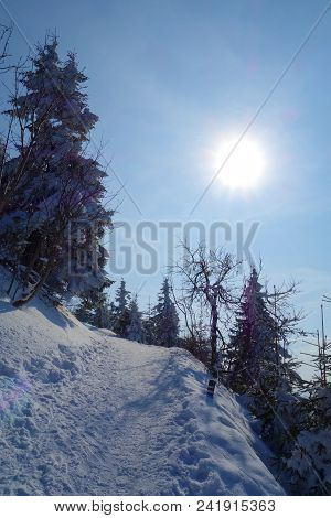 Snowy Hiking Trail During Winter Leading To The Highest Mountain Of Beskydy, Lysa Hora, Czech Republ