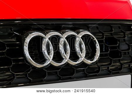 Berlin, Germany - April 15 2018: Audi Company Logo On Audi Rs 5 Car Standing At Volkswagen Group For