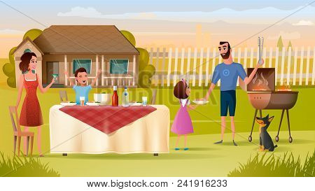 Happy Family Have Holiday Dinner With Drinks And Barbeque Near House Cartoon Vector Illustration. Fa