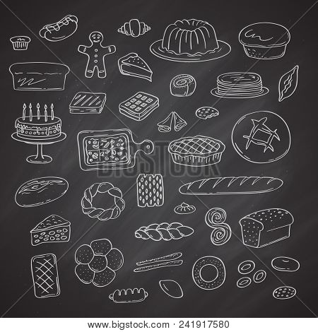 Vector Set Of Hand Drawn Doodle Bakery Elements On Black Chalkboard Illustration. Different Types Of