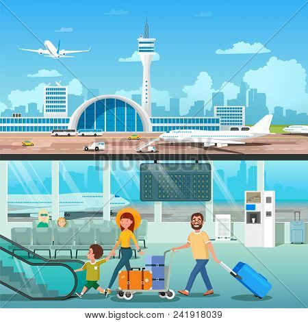 Banner Set Of Airport Interior With Going Family In Interior Hall Departure And Modern Terminal Outs