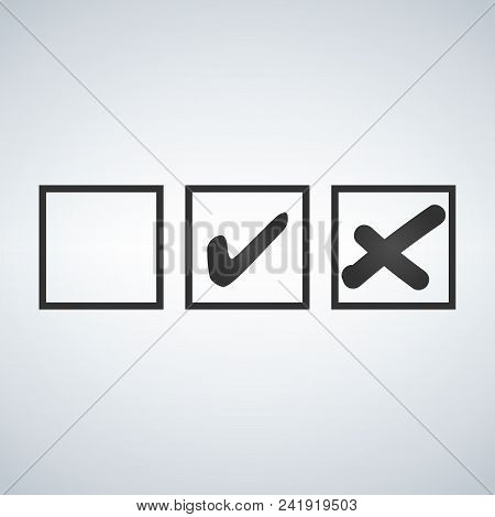 Tick And Cross Test Signs Set, Check Marks Graphic Design. Accept Or Decline Symbol Vector Buttons F