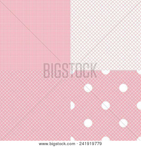 fbd3a4b24 Vector Set Of Checkered Seamless Patterns. Concept Of White Mesh Fabric  Pink And White Color