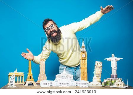 Travel, Adventure, Vacation, Worlds Monuments Concept - Happy Bearded Man In Pilot Helmet And Glasse