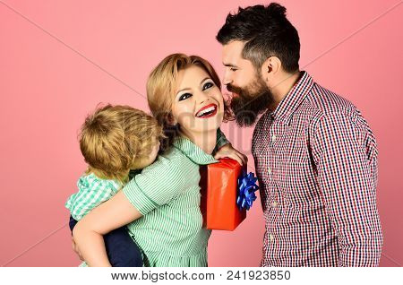 Mother's Day Celebration, Birthday Concept - Cute Little Boy With Father Congratulating Mother. Fath