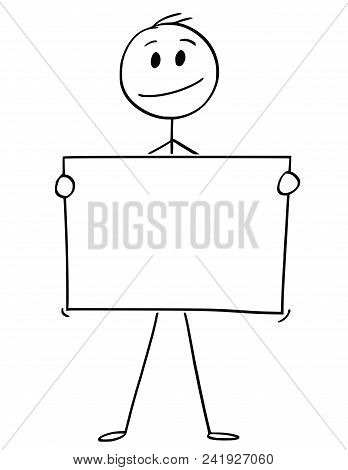 Cartoon Stick Man Drawing Conceptual Illustration Of Businessman Holding Empty Or Blank Paper Or Sig