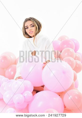 Balloon. Balloon Party. Trendy Young Woman Laying Between Pink Balloons. Sexy Girl With Long Hair Po