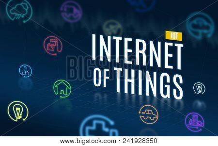 Internet Of Thigns(iot) With Feature Icon Floating On Navy Blue Tech Background,digital Economy Tech
