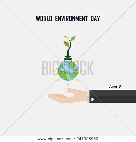 World Environment Day Concept Vector Logo Design Template.june 5st World Environment Day Concept.wor