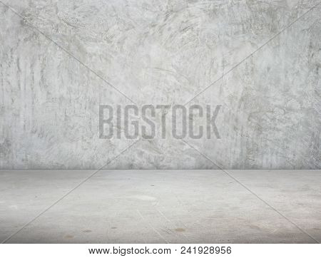 Empty Room Perspective,grunge Concrete Wall And Cement Floor, Mock Up Template For Display Or Montag