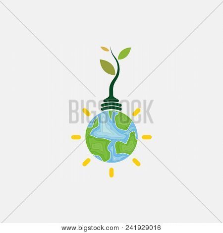 Light Bulb And Tree Icon.world Environment Day Concept Vector Logo Design Template.june 5st World En