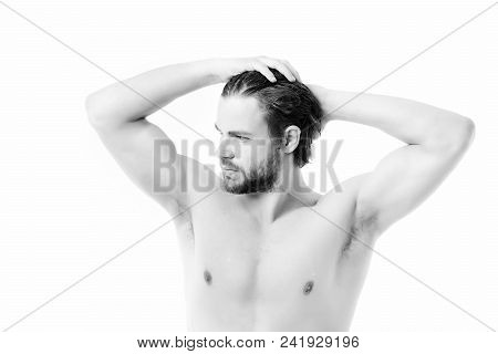 Athlete With Big Muscles And Strong Body Isolated On White Background. Gym, Sportive Shape And Healt