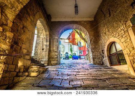 Scenic View At Old Stone Streets In City Center Of Motovun Town, Istria Region In Croatia.