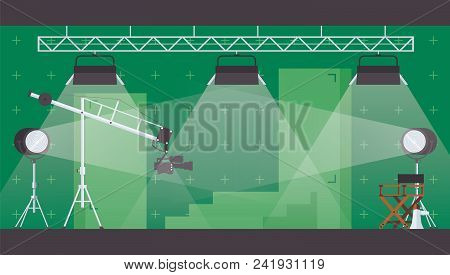 Vector Horizontal Illustration With Chromakey Green Backdrop For Filming And Movie Making. Flat Inte