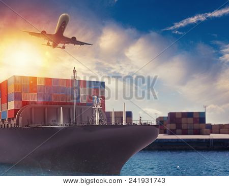 Cargo Ship And Airplane At The Port Ready To Start To Deliver Packages. 3d Rendering