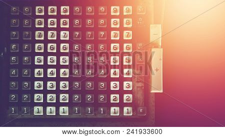 Number Of Vintage Calculator, Outdated Technology Background
