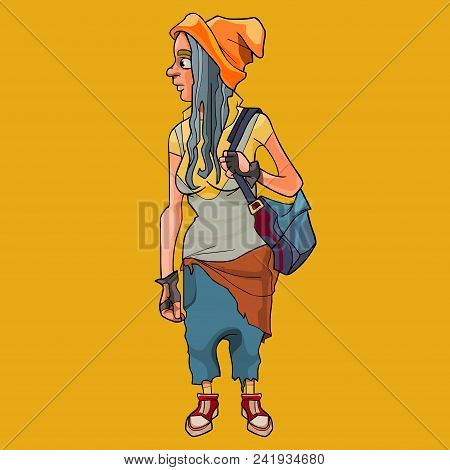 Cartoon Girl With Backpack In Informal Untidy Clothes