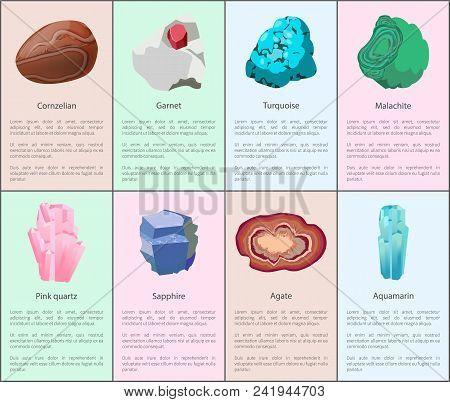 Aquamarine Agate Sapphire Pink Quartz Malachite Turquoise Garnet Carnelian Precious Gemstones Set Is