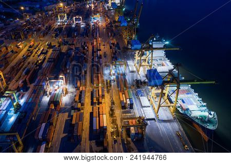 Containers yard in port congestion with ship vessels are loading and discharging operations of the transportation in international port.Shot from drone. poster