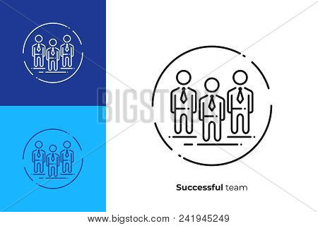Vip Members Line Art Icon, Talented Investment Team Vector Art, Outline Office Team Illustration