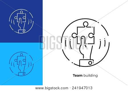 Line Art Puzzle Piece In A Hand. Business Solution. Team Building. Scalable Vector Icon In Modern Li