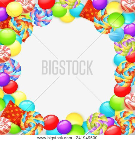 Colorful Lollipops, Caramel Sweets In Wrappers, Fruit Candies, Round Frame On White Background 3d Ve