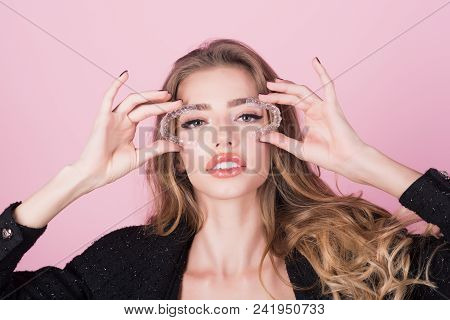 Teeth Retainer For Improving Bite In Hand Of Pretty Girl. Teeth Care. Orthodontic Devices.mobile Ort
