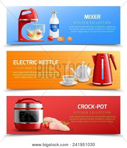 Household Kitchen Appliances Horizontal Banners With Electric Kettle Mixer And Crock Pot Realistic V
