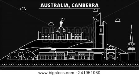 Canberra Silhouette Skyline. Australia - Canberra Vector City, Australian Linear Architecture, Build