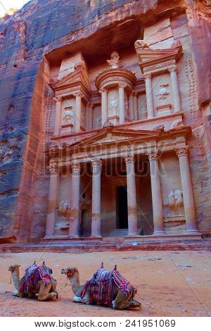 Al Khazneh In The Ancient City Of Petra, Jordan. It Is Known As The Treasury. Petra Has Led To Its D